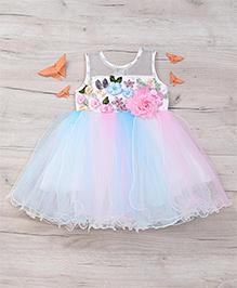 Eiora Beautiful Flower Partywear Dress - Multicolor