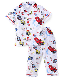 Olio Kids Half Sleeves Night Suit Allover Car Print - White Red