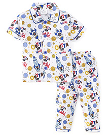 Olio Kids Half Sleeves Night Suit Allover Planets Print - White & Blue