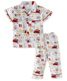 Olio Kids Half Sleeves Night Suit Car Print - White & Red