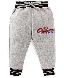 Olio Kids Drawstring Track Pant Embroidered Design - Grey Black
