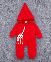 Superfie Side Zip Long Hoodie Romper - Red