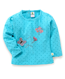 Cucumber Full Sleeves Dotted Top - Blue