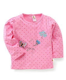 Cucumber Full Sleeves Dotted Top - Pink