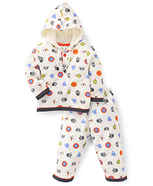 Cucumber Hooded Top And Legging Winter Set Allover Print - Cream
