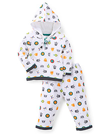 Cucumber Hooded Top And Legging Winter Set Allover Print - White