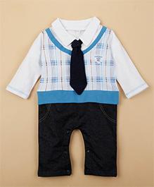 Superfie Mock Tie Suit Romper - White & Blue