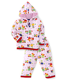 Cucumber Hooded Top And Legging Winter Set Allover Print - Light Pink