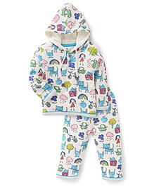 Cucumber Hooded Top And Legging Winter Set Allover Print - Cream And Blue