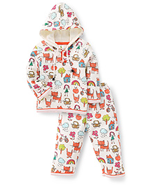 Cucumber Hooded Top And Legging Winter Set Allover Print - Cream And Red