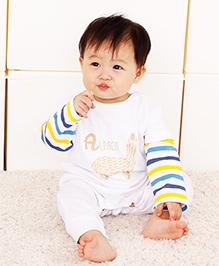 Superfie Full Sleeves Stripes Romper - White