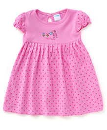 Tango Short Sleeves Frock Dotted & Cute Baby Print - Dark Pink