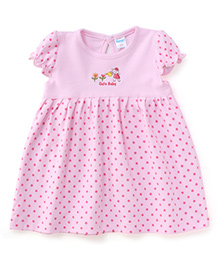 Tango Short Sleeves Frock Dotted & Cute Baby Print - Light Pink
