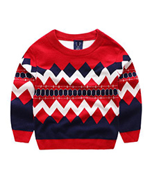 Tickles 4 U Boys Jacquard Pullover - Red