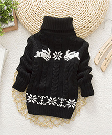 Tickles 4 U High Neck Rabbit Print Sweatshirt - Black