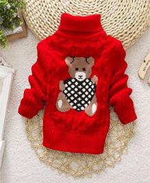 Tickles 4 U Teddy Print Sweatshirt - Red