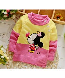 Tickles 4 U Cartoon Print Pullover - Yellow & Pink