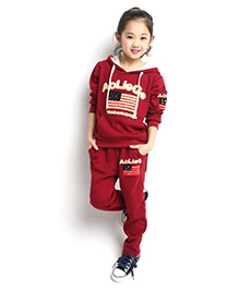 Funky Baby Casual Hooded Set - Red