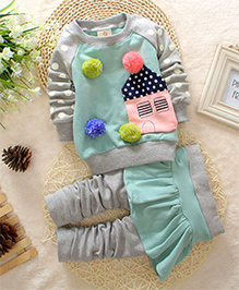 Funky Baby Sweet Home Top & Skirt Leggings Set - Green