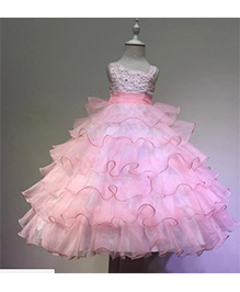 Funky Baby Ruffle Princess Floor Length Flower Girl Dress - Baby Pink
