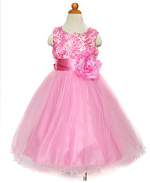 Funky Baby A-Line Rosette Tulle Dress - Baby Pink