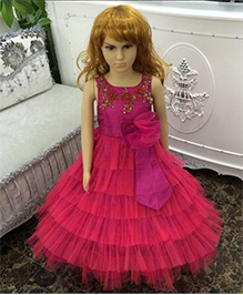 Funky Baby Ruffle Princess Long Tulle Gown - Pink