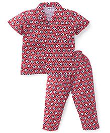 Teddy Half Sleeves Night Suit Football Print - Red