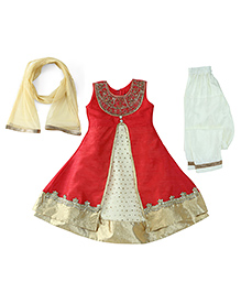 Babyhug Sleeveless Kurta And Churidar With Dupatta - Red Cream Golden