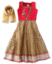 Babyhug Sleeveless Ghagra Choli With Duppatta Set - Fuchsia Golden