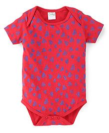 Babyhug Half Sleeves Hearts Print Onesie - Coral Red