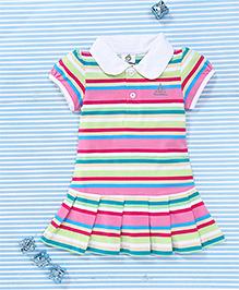 Water Melon Stripe Print Dress - Pink & Multicolour