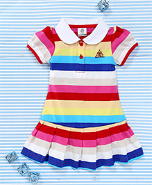 Water Melon Stripe Print Dress - Blue & Multicolour