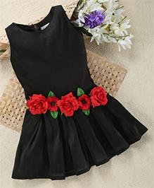 Shu Sam & Smith Floral Applique Elegant Dress - Black