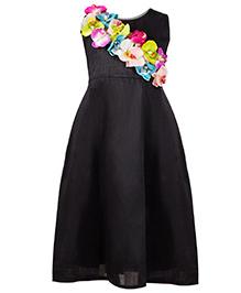 Shu Sam & Smith Orchid Garden Gown Dress - Black