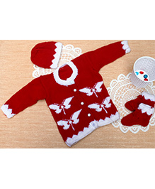 Little Bunnies Butterfly Design Santa Sweater With Cap & Socks Set - Red & White