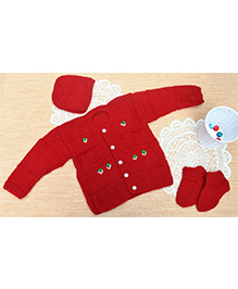 Little Bunnies Flower Embroidery Design Sweater With Cap & Socks Set - Red