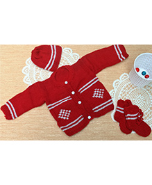 Little Bunnies Digital Design Sweater With Cap & Socks Set - Red