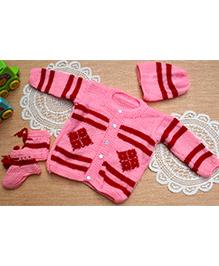 Little Bunnies Digital Square Design Sweater With Cap & Socks Set - Pink