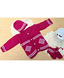 Little Bunnies Digital Square Design Sweater With Cap & Socks Set - Fuschia Pink