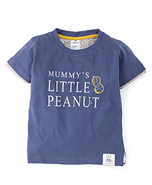 Ollypop Half Sleeves T-Shirt Little Peanut Print - Blue