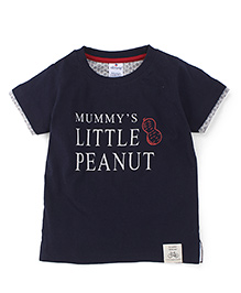 Ollypop Half Sleeves T-Shirt Little Peanut Print - Navy Blue