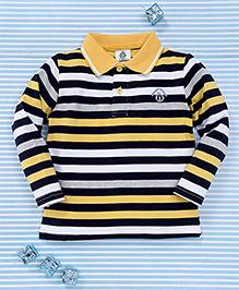 Water Melon Stripe Print Collar Neck T-Shirt - Yellow