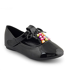 Kittens Shoes Ballerinas With Hearts Applique - Black