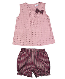 ShopperTree Sleeveless Top With Bloomers Set Hakoba Design - Pink Purple