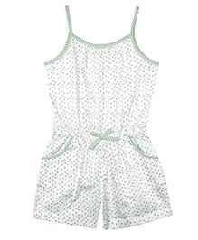 ShopperTree Singlet Jumpsuit Hearts Print - White Green