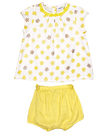 ShopperTree Sleeveless Top With Bloomers Set Floral Print - White Yellow