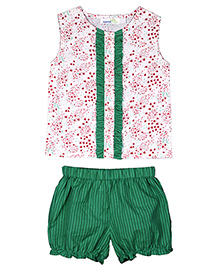 ShopperTree Sleeveless Top With Bloomers Set Floral Print - White Green