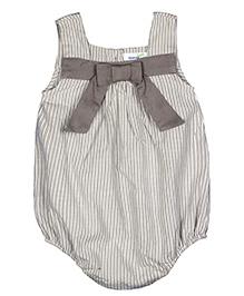 ShopperTree Sleeveless Onesie With Bow Applique - Grey