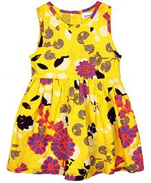 ShopperTree Sleeveless Frock Floral Print - Yellow