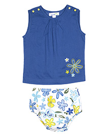 ShopperTree Sleeveless Top With Panties Set Floral Print - White Blue